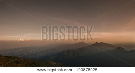 Layer of mountains and mist during sunset mountains Mist Landscape misty