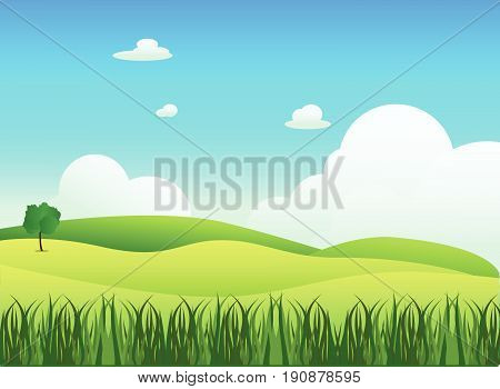 Meadow landscape with grass foreground vector illustration.Green field and sky blue with white cloud background