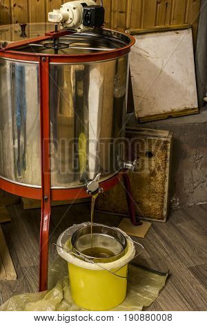 extracting honey, honey flowing out of a centrifuge into a sieve hanging in a bucket