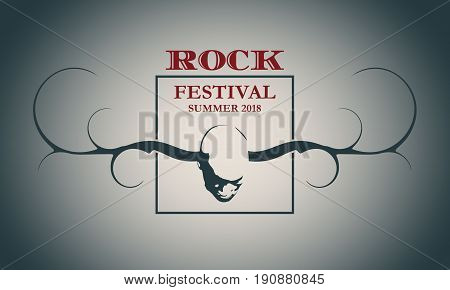 Creative Rock music festival poster template. Vector typography illustration. Image of man with horns of the deer. Invitation card design