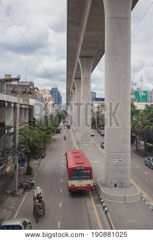 Bangkok,THAILAND-August 25 2016: BTS Sky train high rail at Bang Po Station Bangkok Thailand.