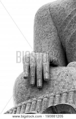 Buddha hand (black and white) in Phuket, Thailand