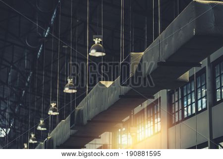 Industrial Factory Concept For Background, Air Duct, Danger And The Cause Of Pneumonia In Office Man