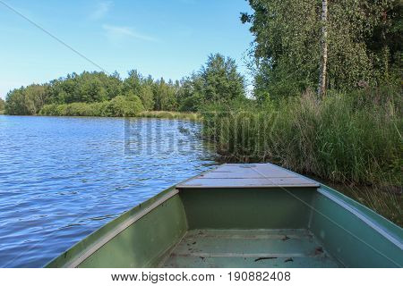 Boat On Pond With Trees And Sky. Czech Landscape