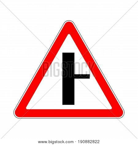 Illustration of Triangle Warning Sign Right Turn