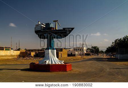 Boat monument in the center of Berbera - 09.01.2016 Berbera Somalia