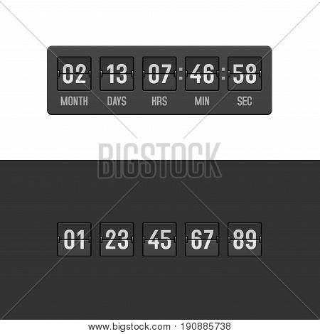 Retro Countdown Clock Timer Set. Vector illustration