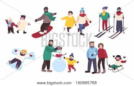 Set of winter games. Different people entertainment in winter sports. Friends, couples with children skate, ski, snowboard, make snowman. Colorful vector illustration in cartoon style