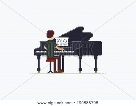 Pixel art grand piano performer isolated on white background