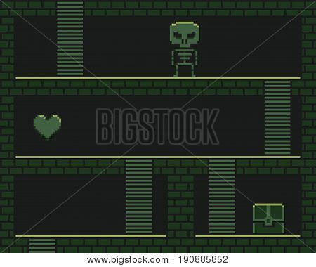 Pixel art retro dungeon, retro platformer with stairs, heart, chest and skeleton