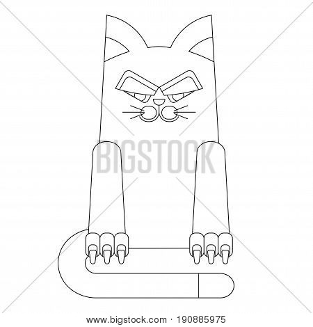 Malicious and dissatisfied fat cat. Flat vector cartoon illustration. Objects isolated on a white background.