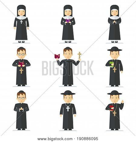 Set Catholic priest and nun. Pastor reads prayer holds cross bible and gospel bless parishioners. Flat vector cartoon illustration. Objects isolated on a white background.