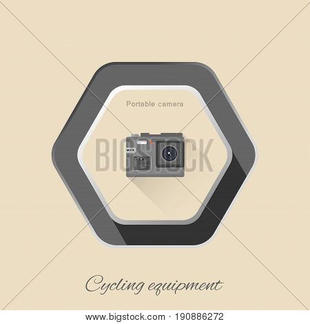 Vector isolated hexagon flat icon of portable action camera with long shadow on the light brown background.