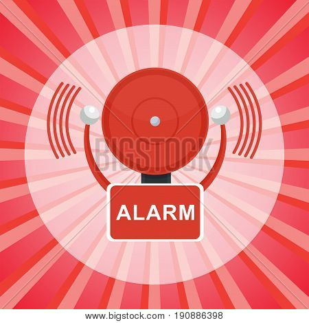 Vector red fire alarm bell. Automatic fire alarm. Objects isolated on a white background.