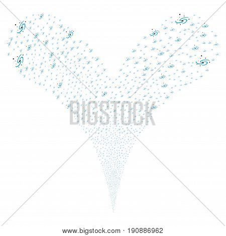 Galaxy source stream. Vector illustration style is flat blue and gray iconic galaxy symbols on a white background. Object fountain made from random design elements.