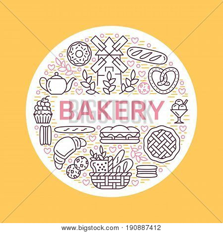 Bakery, bread house poster template. Vector food line icons, illustration of sweets, pretzel croissant, muffin, pastry, cupcake pie, mill. Confectionery products banner with place for text.