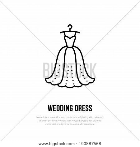 Wedding dress on hanger icon, clothing shop line logo. Flat sign for apparel collection. Logotype for laundry, clothes cleaning.
