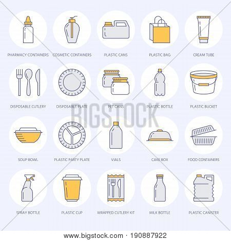 Plastic packaging, disposable tableware line icons. Product packs, container, bottle, packet, canister, plates and cutlery. Container thin linear signs for shop or synthetic material goods production.