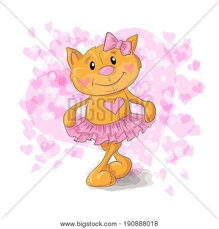 Cute Kitty with hearts cartoon. Vector illustration.