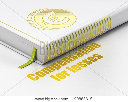Currency concept: closed book with Gold Euro Coin icon and text Compensation For losses on floor, white background, 3D rendering