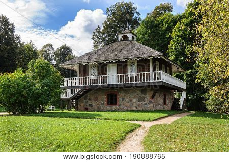 Pushkinskie Gory, Russia - September 10, 2015: Manor stone house of Abram Petrovich Hannibal in Petrovskoye village. State Museum-reserve of A. S. Pushkin.