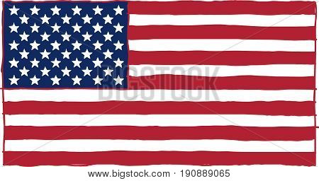 Carelessly, hastily, painted the flag of the United States of America