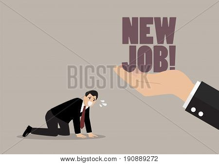 Big hand give a new job to desperate businessman. business concept