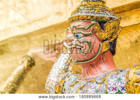 Closeup Beautiful Golden Giant In Wat Phra Kaew Or The Temple Of The Emerald Buddha Or Wat Phra Sri