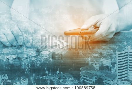 Double Exposure Online Banking And Internet Banking And People Networking Concept