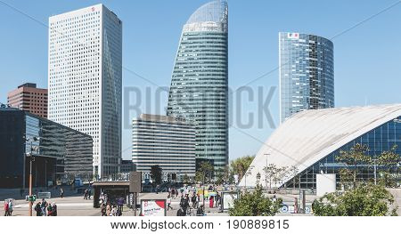 Overview Of The Major Buildings Of The Defense Business District In Paris