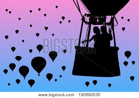 Lovers in balloon at dawn. Vector illustration with silhouette of loving couple under morning sky. Landscape with flying aerostats. Bright gradient background