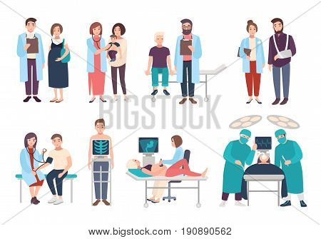 Set of doctors and patients in polyclinic, hospital. Visit to therapist, pediatrician, gynecologist, surgeon. medical services ultrasound diagnostics, x-ray, surgery. Vector cartoon illustrations
