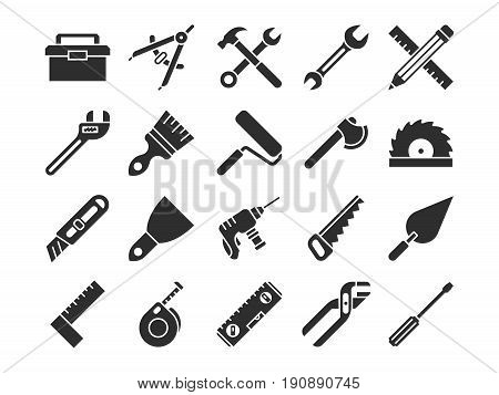 Construction and engineering tools silhouette vector icons. Silhouette of hammer and equipment hardware, drill and wrench illustration