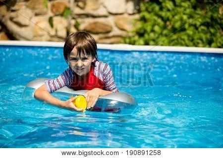 Cute Child, Swim In Swimming Pool