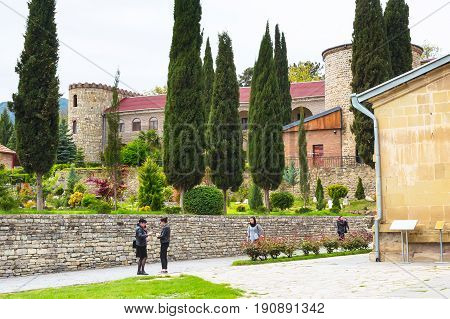Mtskheta, Georgia - 8 October, 2016: Samtavro Monastery, Living Pillar and the particle of the relics of the two saints is here