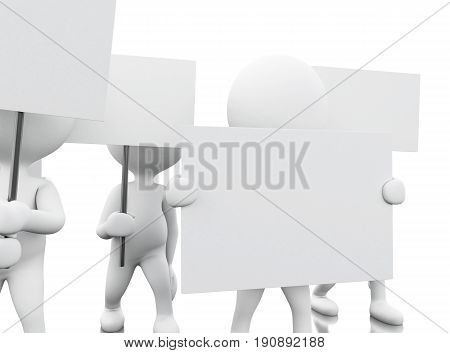 3d ilusration. Group of white people protesting. Human rights concept. Isolated white background