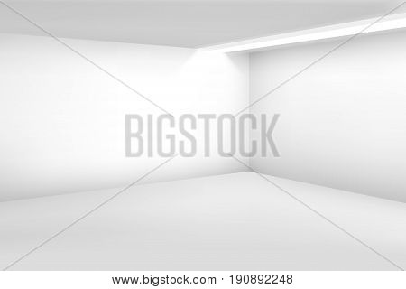 White empty room. 3d modern blank interior. Vector home background. House room blank, illustration of interior empty white studio room