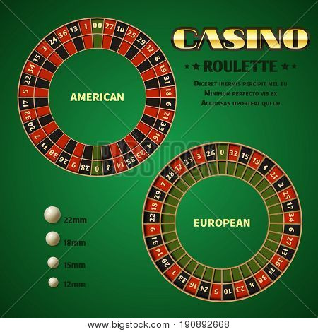 American and European casino roulette motion wheels with white ball. Vector Illustration template casino roulettes wheel