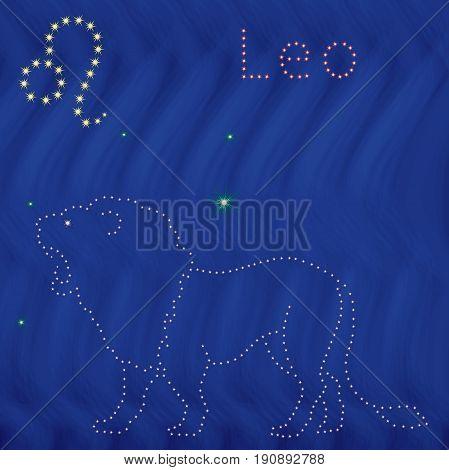 Zodiac Sign Leo Contour On The Starry Sky
