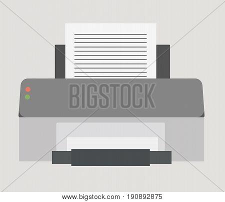 Vector illustration. Flat icon of computer printer.