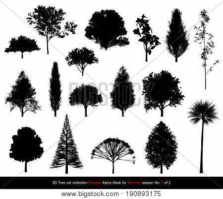 Silhouette Shadow Black Tree Or Alpha Mask Of Tree Summer Season Set For Architecture Landscape Desi