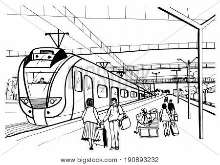 Monochrome horizontal sketch with people, passengers waiting arrival suburban electric train. Hand drawn vector illustration