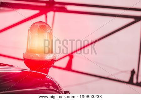 Police Vehicle Strobe Light, Red Color Lighting Flash Roll On Top Of A Police Car With Space For Tex