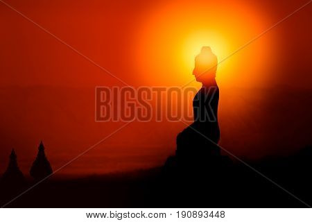 Silhouette Of Buddha, Buddhist Shadow With Wisdom Enlighten Light Spread.