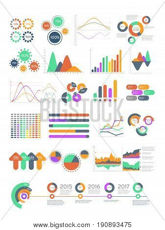 Multicolored vector infographics with different graphs and diagrams. Design template with charts for your business presintation illustration