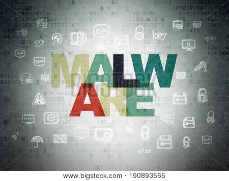 Protection concept: Painted multicolor text Malware on Digital Data Paper background with  Hand Drawn Security Icons