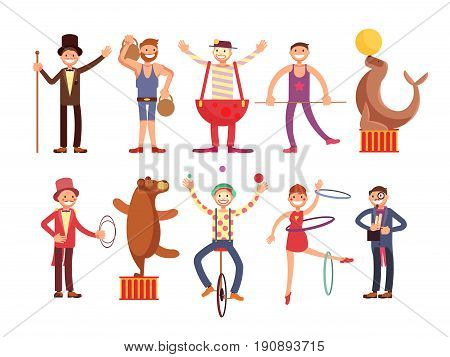 Circus artists cartoon characters vector set. Acrobat and strongman, magician, clown, trained animals. Fun performance juggler and funny performer illustration