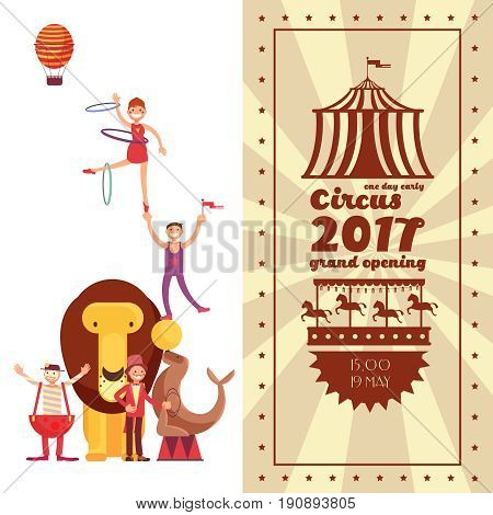 Fun fair carnival and circus vintage vector poster. Carnival circus tent banner, poster amusement illustration