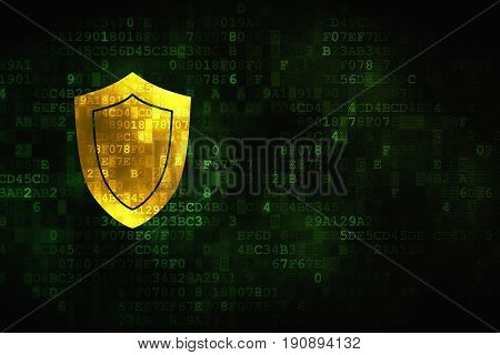 Safety concept: pixelated Shield icon on digital background, empty copyspace for card, text, advertising