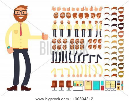 Young male businessman character with gestures set for animation. Vector creation constructor. Happy businessman constructor foot anf hand illustration